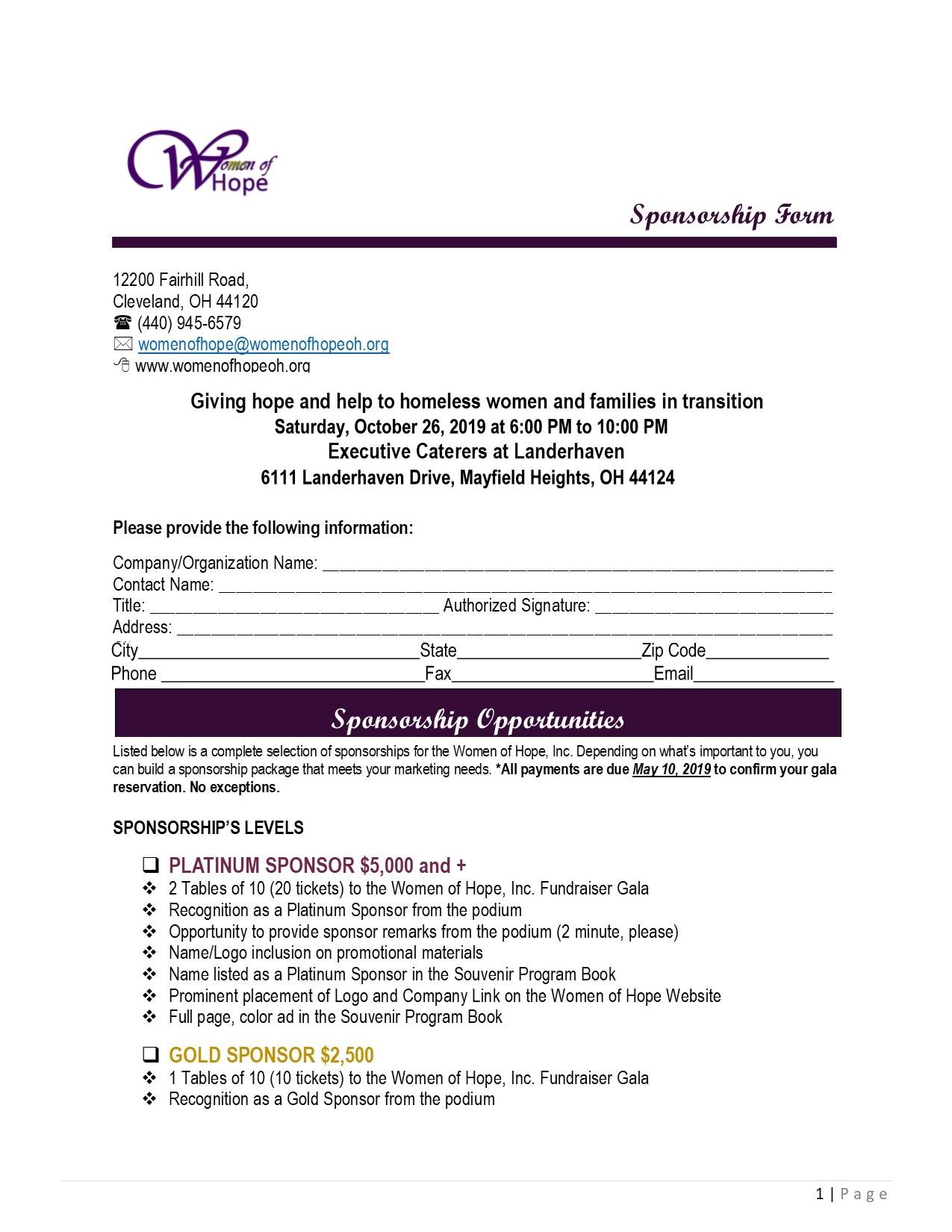 Sponsorship Form 1- Oct 26 - 2019